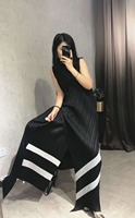 HOT SELLING Miyake Fold striped top two piece women fashion fold wide legged pants suit IN STOCK