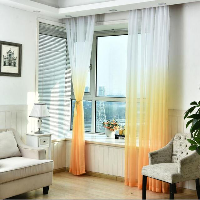 Fashion Green Tulle Curtains Window Drapes Blinds Sheer Voile Gauze Blue Curtains Cafe