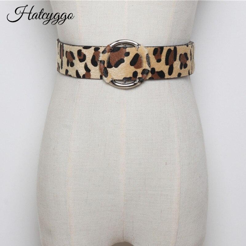 HATCYGGO CRIN mujeres cinturón de leopardo cinturón mujer/cinturón faja hebilla de Metal de marca de diseñador de moda de las muchachas accesorios cinturón Dama