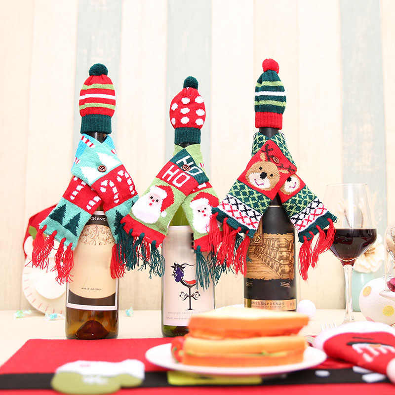 Christmas Wine Bottle Wrapping Cover Knitted Mini Scarf Hat Xmas Dinner Table Christmas Decorations for Home Xmas Ornaments FAS