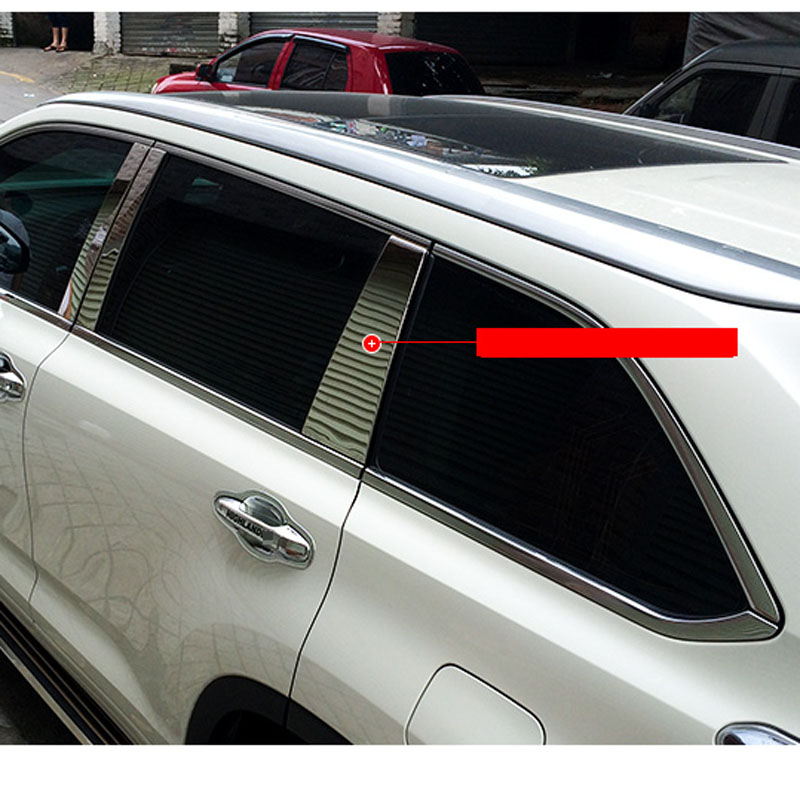 Stainless Steel WINDOW GARNISH Window Moulding Cover Window Pillar For Toyota For Highlander 2015 Car Body Kit