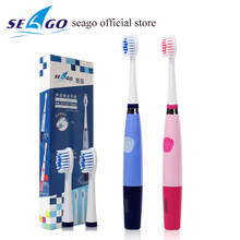2016 Ultrasónico Seago 915 Portátil Pilas Sonic cepillo de Dientes Eléctrico cepillo de Dientes Higiene Bucal 3 Cabezas de Cepillo de Dientes