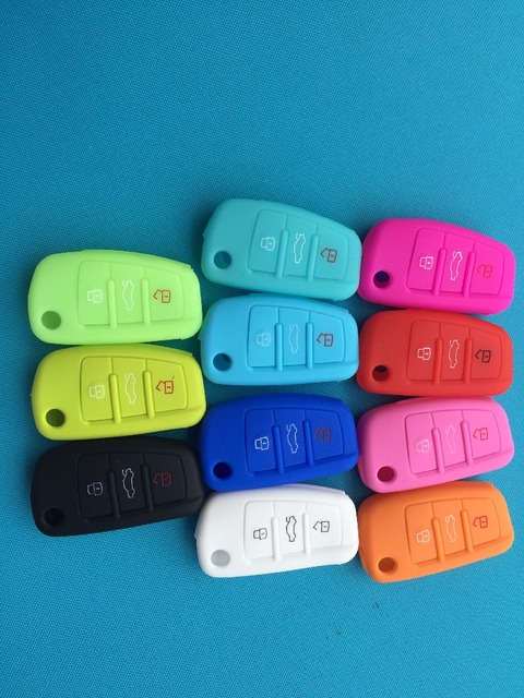 1pc Silicone Car Key Case Cover Skin For Audi A1 A3 A4 Cabriole A6 TT Allroad Q3 Q7 R8 S6 SQ5 RS4 Remote Fob Flip Shell Protect