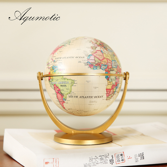 Aqumotic Litter Old World Globe Small Ancient Stand Decor Mini Earth Ball