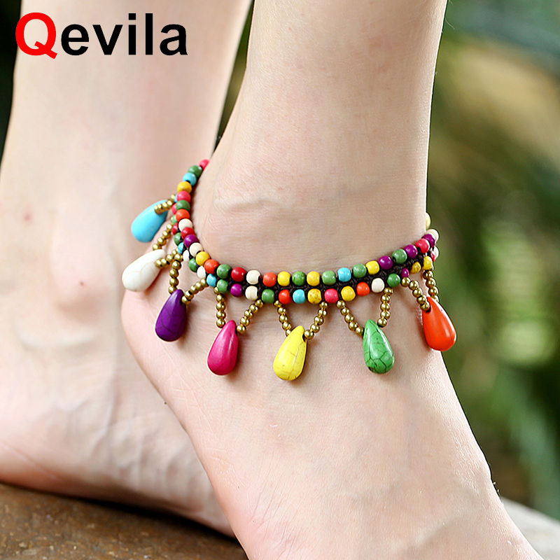 Qevila Fashion Jewelry Anklets Bohimian Water Drop Ankle For Women Thai Waxline Hand-woven Leg Pendant Ethnic Barefoot Bracelets We Have Won Praise From Customers Anklets Fine Jewelry