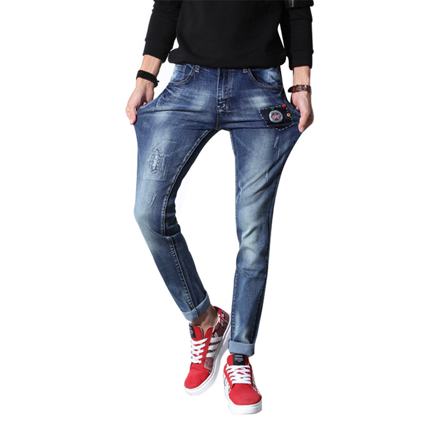 New Fashion  2017 Men Biker Jeans Pant Denim Trousers Jeans Straight Slim Fit Denim skinny Cowboy Jean Pants Trousers Size 28-36 2017 fashion patch jeans men slim straight denim jeans ripped trousers new famous brand biker jeans logo mens zipper jeans 604