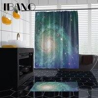 Ibano 우주 디자인 샤워 커튼 방수 폴리 에스터 직물 180x180cm 욕실 커튼 40x60cm 매트 욕실 커튼