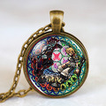 Steampunk US Movie Kingdom Hearts Wheel game Pendant new Necklace glass 1pcs/lot mens handmade jewelry dr who chain