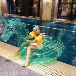 240 см гигантский прозрачный надувной бассейн в виде единорога Float пляж вечерние игрушки для бассейна взрослых надувной матрас-кровать