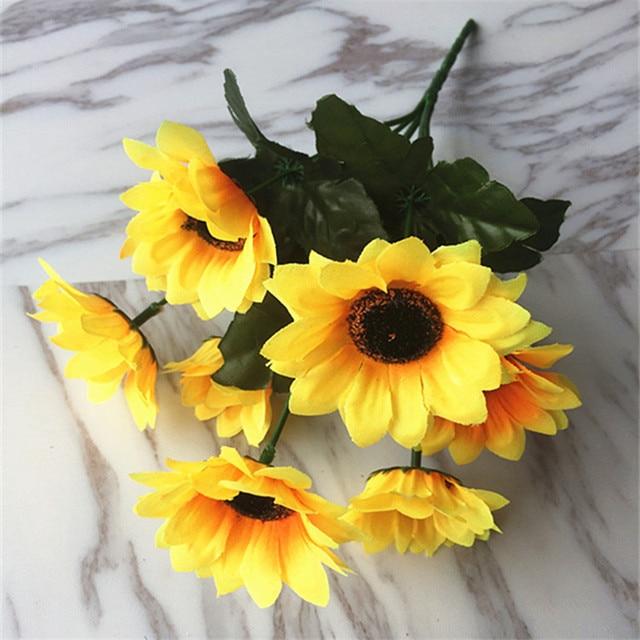 Artificial Silk Flower Wedding Sunflower Bouquet Home Office Table ...
