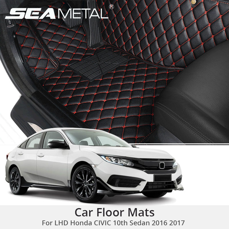 for lhd honda civic 10th sedan 2017 2016 custom car floor mats leather rugs car styling interior. Black Bedroom Furniture Sets. Home Design Ideas