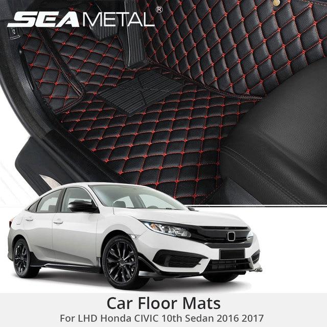 For LHD Honda CIVIC 10th Sedan 2017 2016 Custom Car Floor Mats Leather Rugs  Car