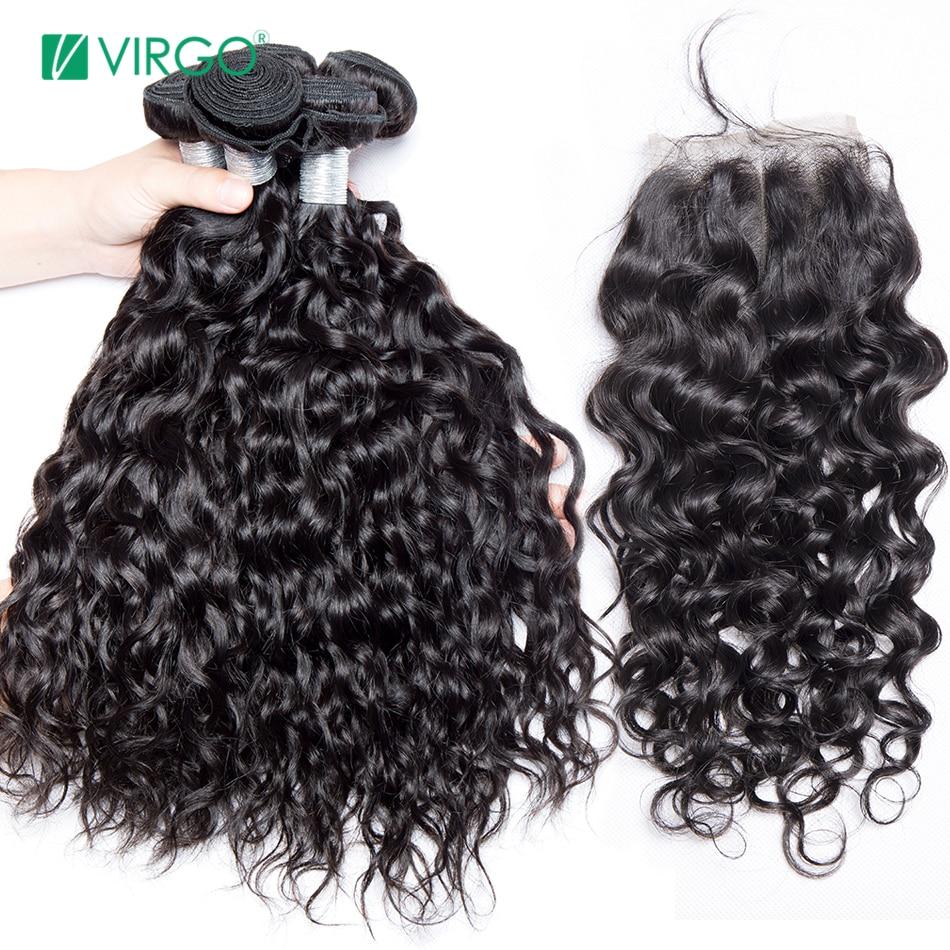 Malaisie Water Wave 3 Bundles avec Fermeture Bundles avec Fermeture Remy Cheveux Armure de Cheveux Humains 4 Pcs/lot Vierge Cheveux