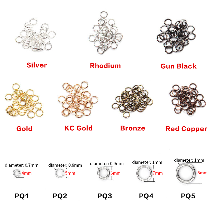 ZHUKOU 200pcs/lot 4 5 6 7 8 Jump Rings Gold color Split Rings Connectors For Diy Jewelry Finding Making Accessories Wholesale