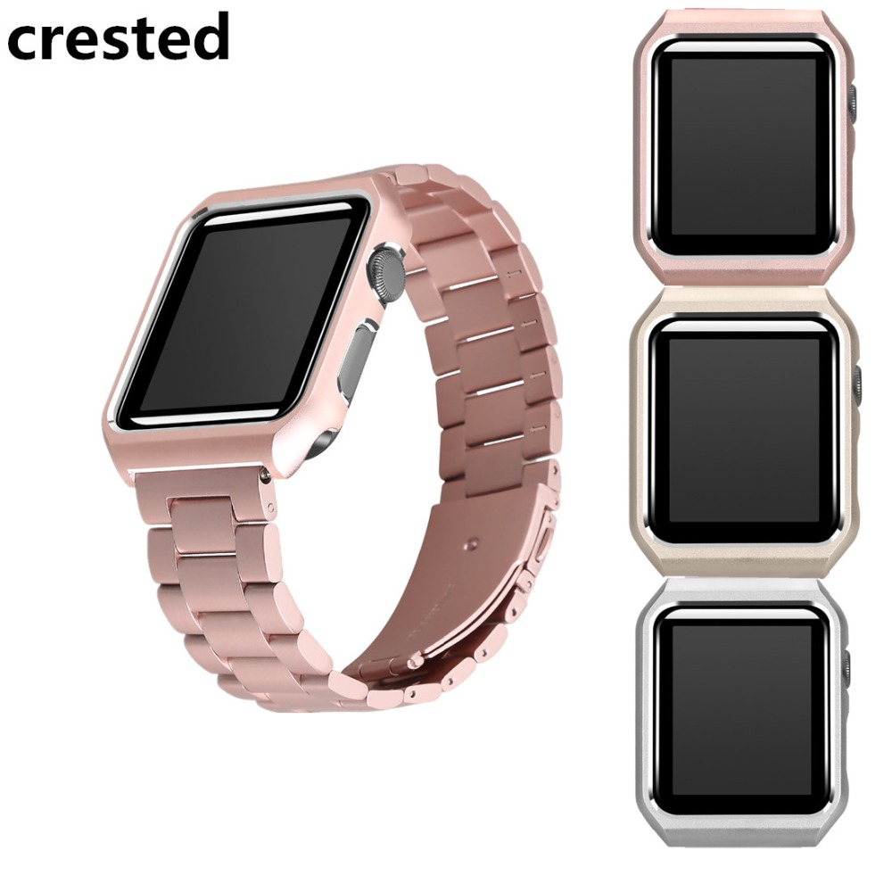 CRESTED stainless steel Strap For Apple Watch band case 42mm/38mm iwatch series 3/2/1 wrist band metal link bracelet case sover so buy wrist bracelet 316l stainless steel bands for apple watch 42mm 38mm iwatch strap series 1 2 3 sport milan nice metal band