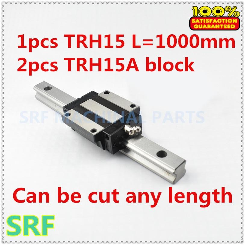 100% Brand New 1pcs 15mm width Linear Guide Rail TRH15 L=1000mm with 2pcs TRH15A Linear Rail Flange block for cnc linear guide for 3d printer 1pc trh15 l200mm linear rail 2pcs trh15a flange block