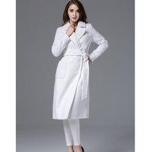 ZADORIN Wool Blends Overcoat Women Lapel Long Sleeve White Wool Coat Fashion Elegant Slim Long Winter Coats and Jackets abrigos