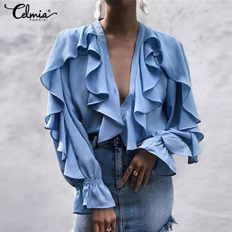 2019 Women Summer Sexy V neck Ruffled Blouse Celmia Long Sleeve Female Casual Shirt Buttons Solid Tops Blusa Femininas Plus Size