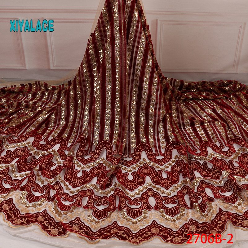 African Lace Fabric 2019 High Quality Nigerian Lace Fabrics Organza Sequins Embroidery Most Beautiful Bridal Lace YA2706B-2