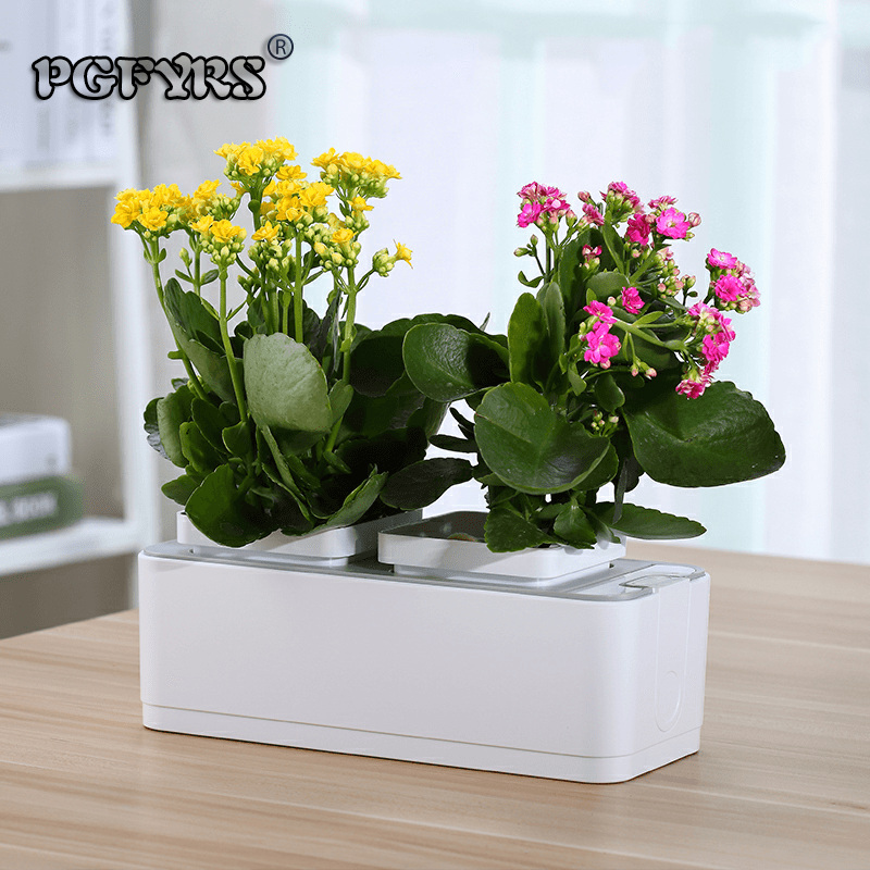 Mini garden electronic control automatic watering high end water storage and storage creative flower pot water shortage prompt