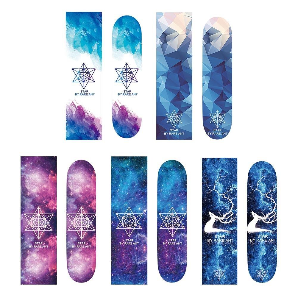 Professional 122x28cm Longboard Sandpaper Skate Skateboard With Words Skate Part Star Pattern Grip Tape Anti-Slip Stickers Decal