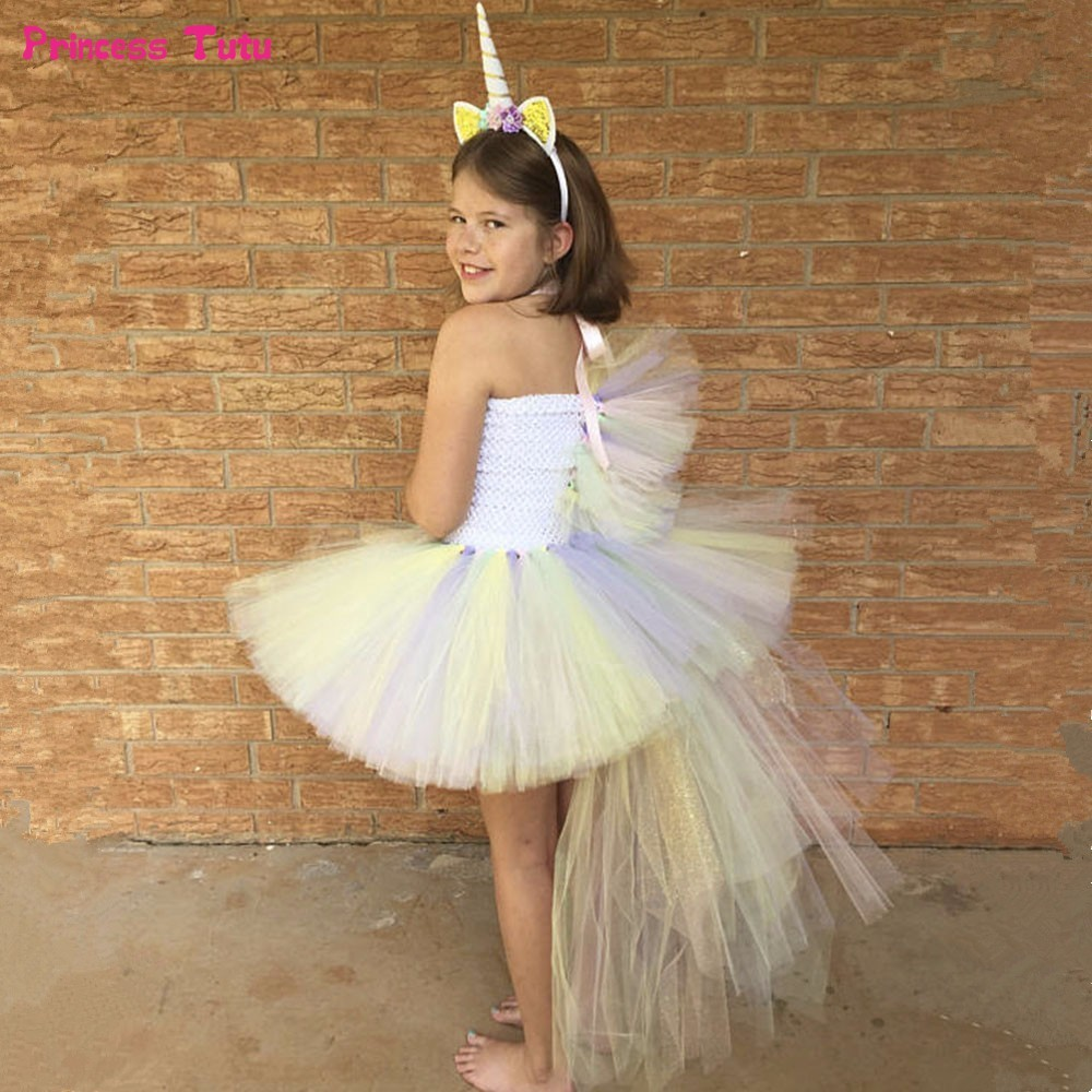 Pony Unicorn Girls Tutu Dress Tulle Pastel Rainbow Baby Girl Birthday Party Dress Kids Christmas Halloween Cosplay Dress Costume fancy girl mermai ariel dress pink princess tutu dress baby girl birthday party tulle dresses kids cosplay halloween costume