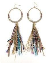 Long fringe dangle earring beaded long tassel hoop earrings crystal chandelier earrings bohemian style earrings faux crystal filigree chandelier earrings