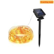 цена на 8 mode Solar Powered String Lights 50LED 100 led 200 led lamp Copper Wire Outdoor Fairy Light for Christmas Garden Holiday Decor