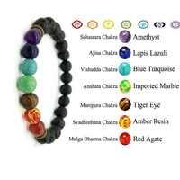 Pulsera de 7 Chakras Rudraksha cuenta natural pulsera hombres lapislázuli 8mm joyería de piedra para mujeres Yoga bileklik pulseras de oración