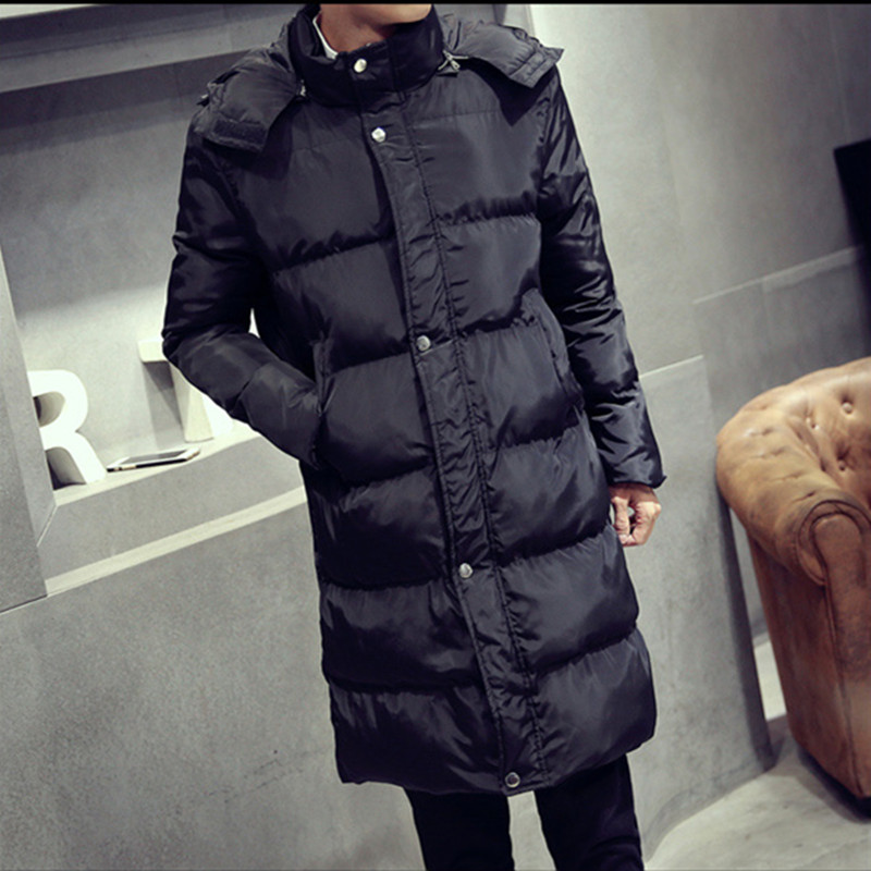 New  pure color hooded cotton-padded Clothing Jackets Business Long Thick Winter Coat Men Solid Parka Fashion Overcoat Outerwear new men s military style casual fashion canvas outdoor camping travel hooded trench coat outerwear mens army parka long jackets