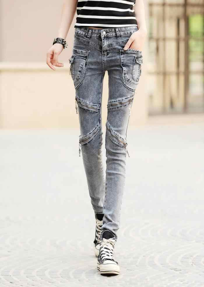 Hip Hop Kargo Cep Skinny Jeans Slim Femme Kadın Pamuk Harem Kot Pantolon Bayan Fermuar Biker Kot Kadın Siyah Mavi gri