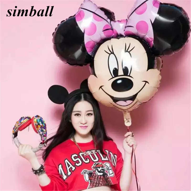 1PCS Unicorn Party Balloon Mickey Minnie Balloons Red Bowknot Mickey Mouse Birthday Minnie Mouse Party Decoration Party Supplies
