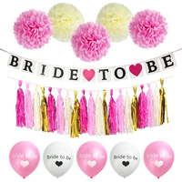 HEY FUNNY 1set Bride To Be Banner Paper Tassels Team Bride Balloon Wedding Decor Bridal Shower