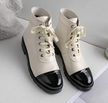 Hot Sweet Fashion White Genuine Leather Ankle Lace-Up Shoes Round -Up Womens Square heel  Cross-tied Whoess Boots