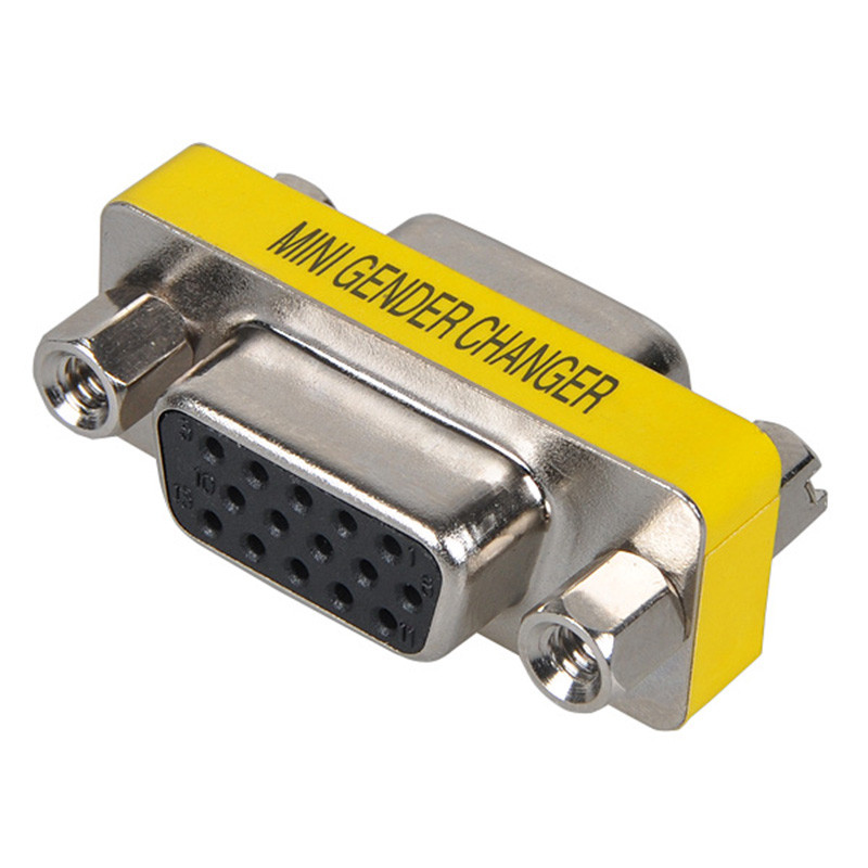 Mayitr 1pc 15 Pin VGA / SVGA Gender Changer HD 15(HD VGA/SVGA) Female To 15 Female Mini Gender Changer For Connectors