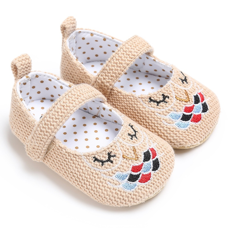 Kids Girls Fashion Spring Cute Vintage Princess Style Embroidery Anti-skid Casual Baby Cack Shoes