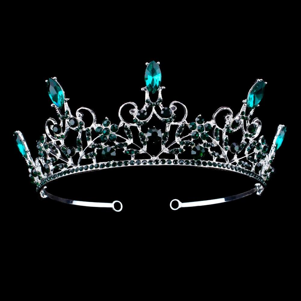 Baroque Bridal Tiara Green Crystal Bride Diadem Rhinestone Crown for Women Wedding Headbands Hair jewelry Accessories