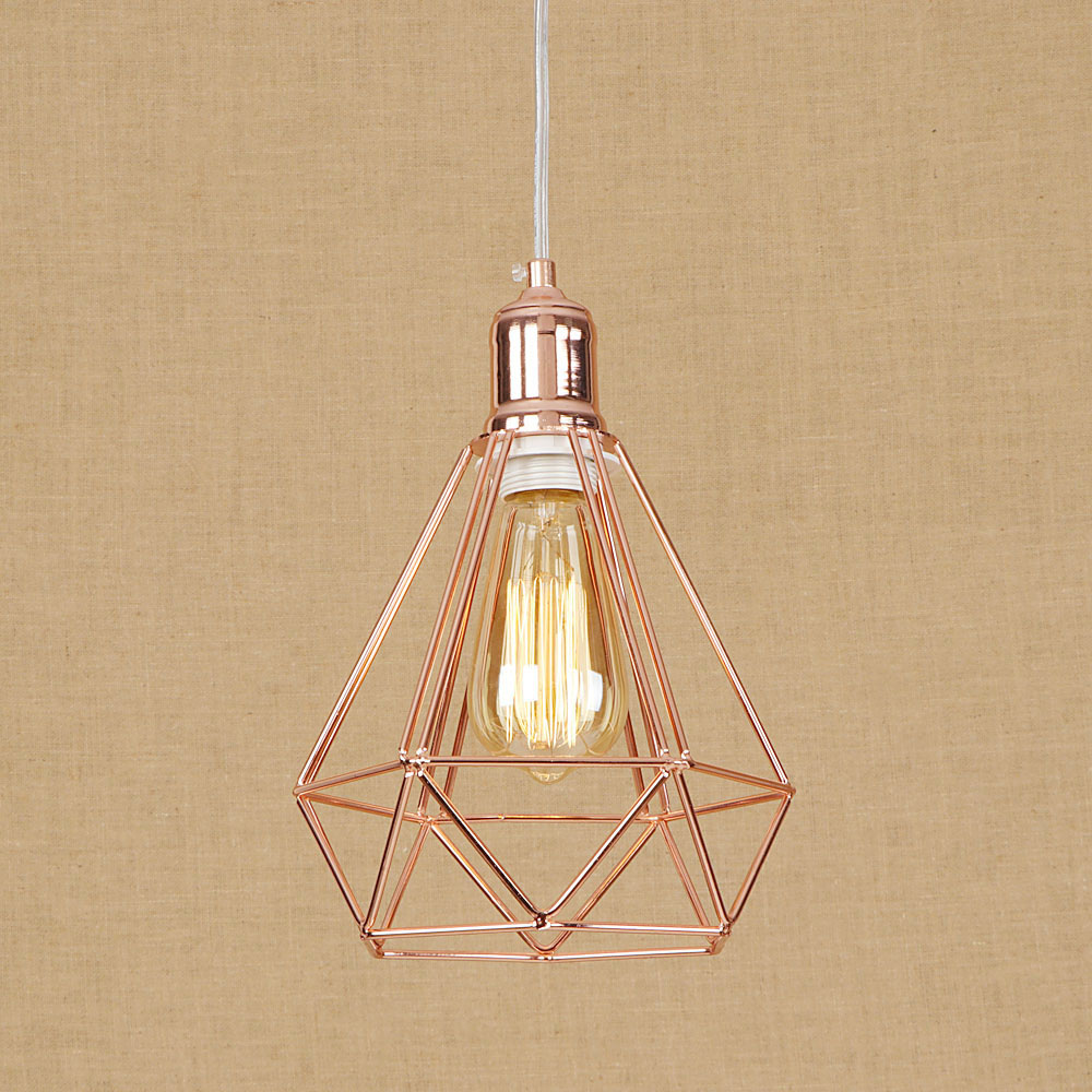 Loft Style Iron Droplight Industrial Vintage LED Pendant Light Fixtures For Dining Room Rose Gold Hanging Lamp Home Lighting retro loft style rope bamboo droplight creative iron vintage pendant light fixtures dining room led hanging lamp home lighting