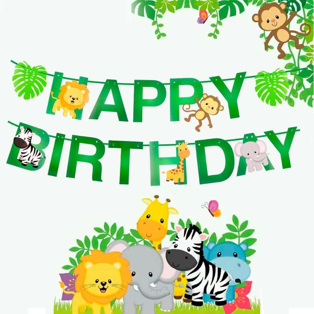 هوايران الكرتون الحيوان راية عيد ميلاد سعيد راية الاطفال الغابة حفلة سفاري ديكور حديقة الحيوان هدية حفلة عيد ميلاد الطفل ديكور