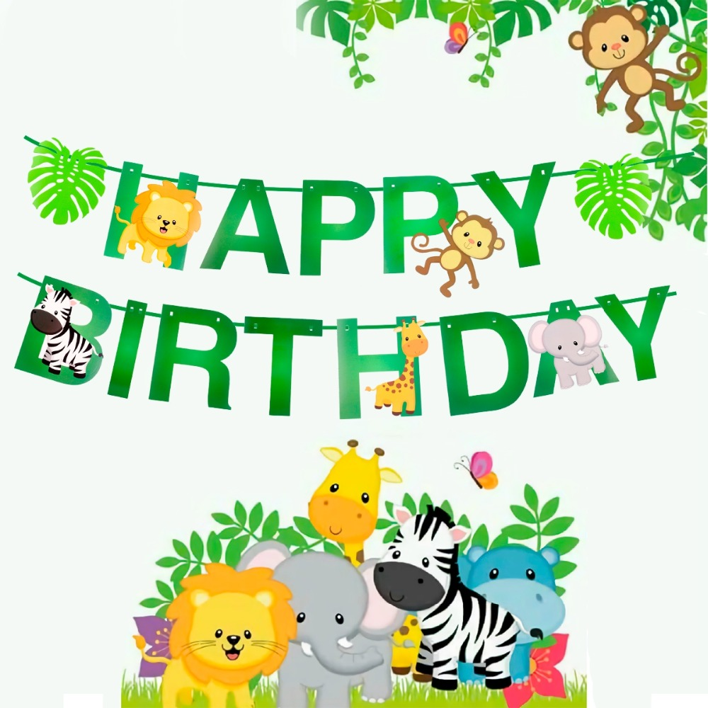 Cartoon Animal Happy Birthday Bunting Banner Paper Flag Kid Boy Gift Party Decor