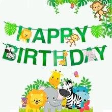 Happy Birthday Banner Kids Cartoon Animal Jungle Safari Party Decoration Baby Shower Favor Gift Supplies