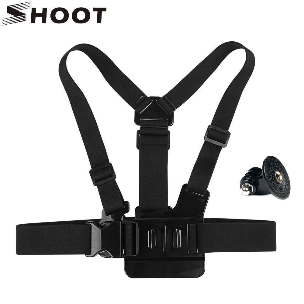 SHOOT Adjustable Camera Chest Strap Mount For GoPro Hero 5 4 3 Xiaomi Yi 4k SJCAM Eken h9r Belt with Adapter Go Pro accessory lacywear s 293 msh