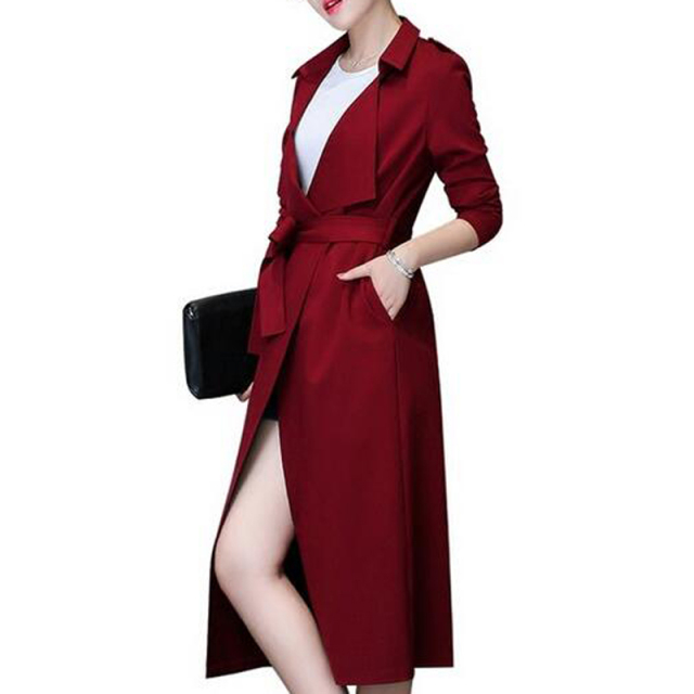 2016 Spring Autumn Womens New Fashion Trench Coat Ladies Open Front with Belt Slim Casual Long Outerwear Coats High Quality 1892
