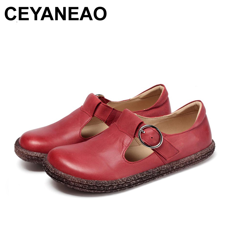 CEYANEAO 2018 Women Flats New Full Grain Genuine Leather Fashion Spring Summer Shoes 3 Colors T828