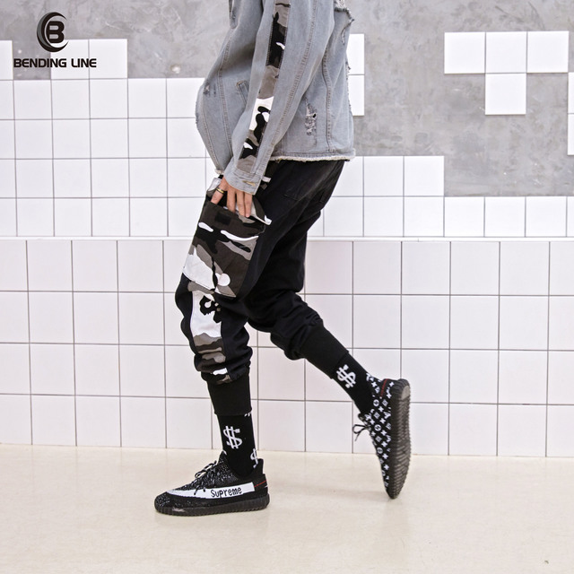 fe600f48481c Man Large Pocket Spliced Camouflage Cargo Pants Male Military Tatical Trousers  Casual Hip Hop US Size