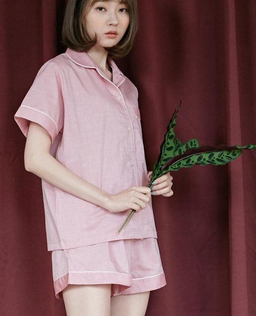 9a6500e4f33a NUO Women s Jersey Shortie Pyjama Turn-down Collar Blouse Shirt Sleepwear  Casual Fashion Loose Short Sleeved Pajamas Set NP0055Z