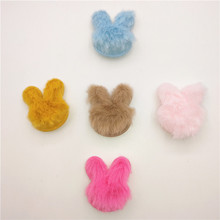50pcs Plush Patches Rabbit Hair Embellishment Rabbit Head Appliques for Clothing Craft Sewing Supplies DIY Hair Clips Ornament