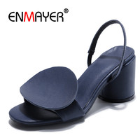 ENMAYER Woman high heels Sandals Ladies shoes party shoes Size34 39 Causal Summer Buckle strap Genuine Leather Shoes women CR800