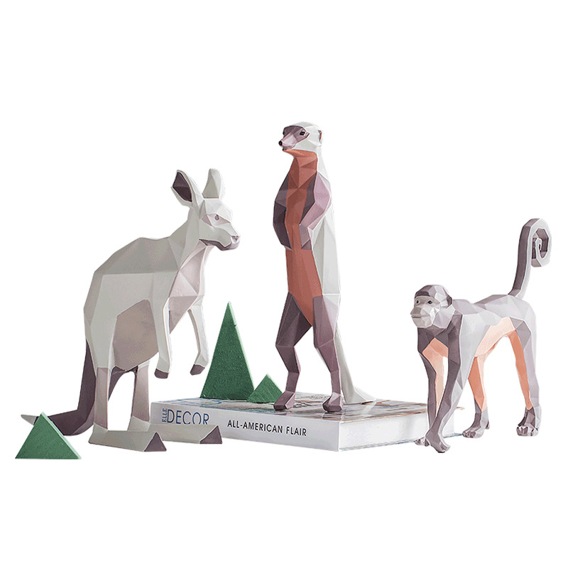 MRZOOT Nordic home geometric color hand painted ostrich monkey cat kangaroo animal statue sculpture decorative accessories in Statues Sculptures from Home Garden