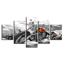 Canvas 5 Pieces Pictures Modular Prints Wall Art Motorcycle Black And White Painting